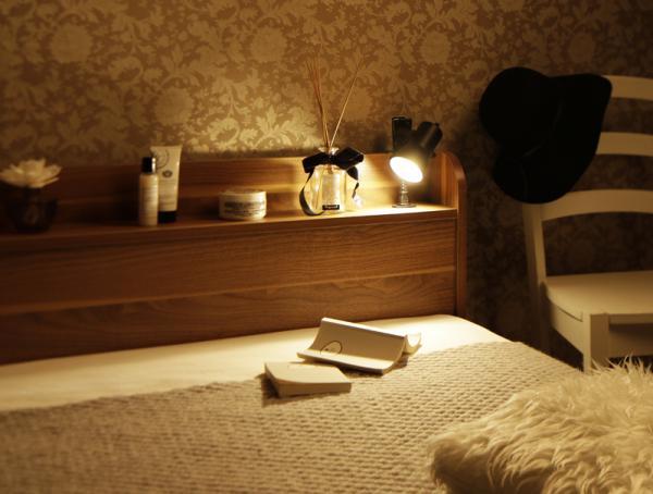 シングル【スタンダードボンネルコイルマットレス付き】ショート丈 棚・コンセント付き収納ベッド【Caterina】カテリーナ