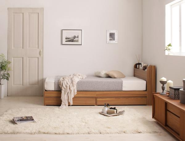 シングル【スタンダードポケットコイルマットレス付き】ショート丈 棚・コンセント付き収納ベッド【Caterina】カテリーナ