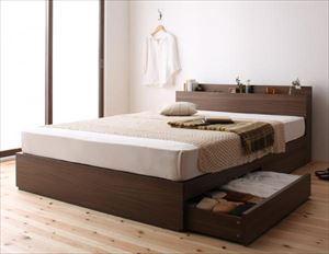 ダブル【スタンダードボンネルコイルマットレス付き】棚・コンセント付き収納ベッド【General】ジェネラル