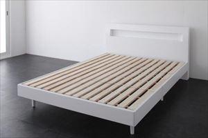 ダブル【スタンダードポケットコイルマットレス付き】棚・コンセント付 すのこベッド【Alamode】アラモード