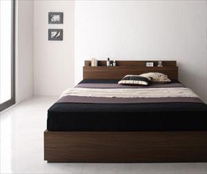シングル【スタンダードポケットコイルマットレス付き】棚・コンセント付き収納ベッド【General】ジェネラル