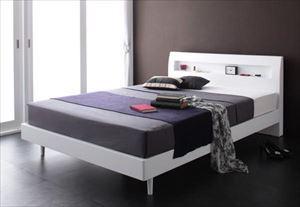 シングル【ゼルトスプリングマットレス付き】棚・コンセント付 すのこベッド【Alamode】アラモード