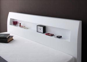 ダブル【羊毛入りゼルトスプリングマットレス付き】棚・コンセント付 すのこベッド【Alamode】アラモード
