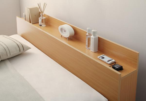 ワイドK300(S×3)【フレームのみ】棚・コンセント・収納付き大型モダンデザインベッド【Cedric】セドリック