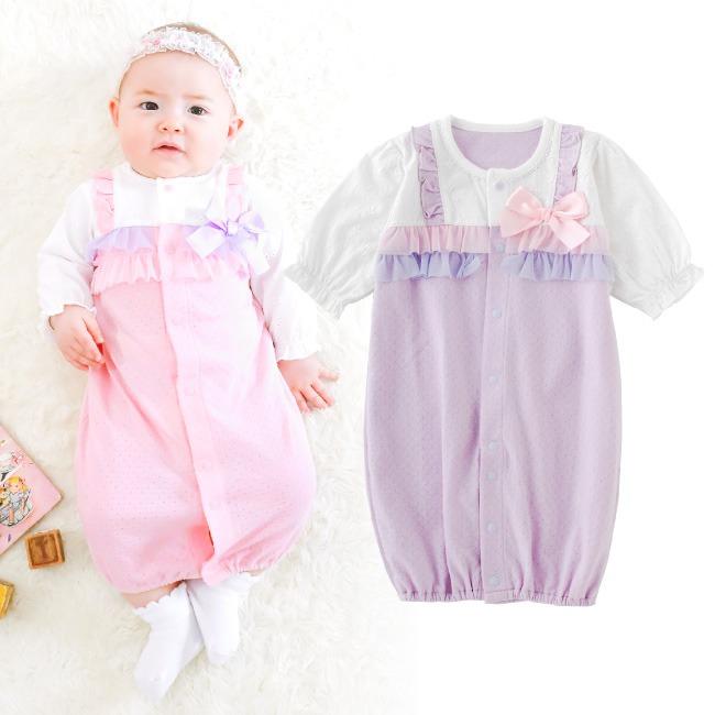 ベビー服 赤ちゃん 服 ベビー ツーウェイオール 女の子 新生児 2wayオール ドレスオール 50 60 フリル付き新生児ツーウェイオール