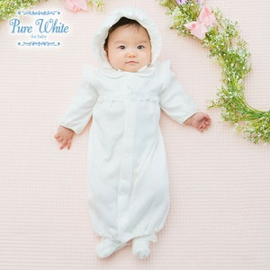 *ピュアホワイト*帽子付きセレモニー新生児ツーウェイオール