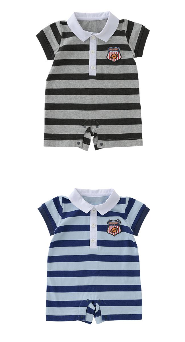 ラガーシャツ風ボーダー柄半袖カバーオール[ベビー服][赤ちゃん][服][ベビー][カバーオール][男の子][70][80][前開き][ボーダー][春][夏]