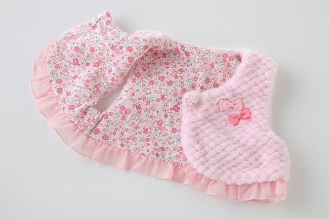 スウィートガールボア新生児ベスト[ベビー服][赤ちゃん][服][ベビー][防寒][新生児][ベスト][女の子][50][60][70]