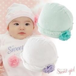 *スウィートガール*お花コサージュリボン柄ベロア新生児帽子【新生児〜3ヶ月前後】