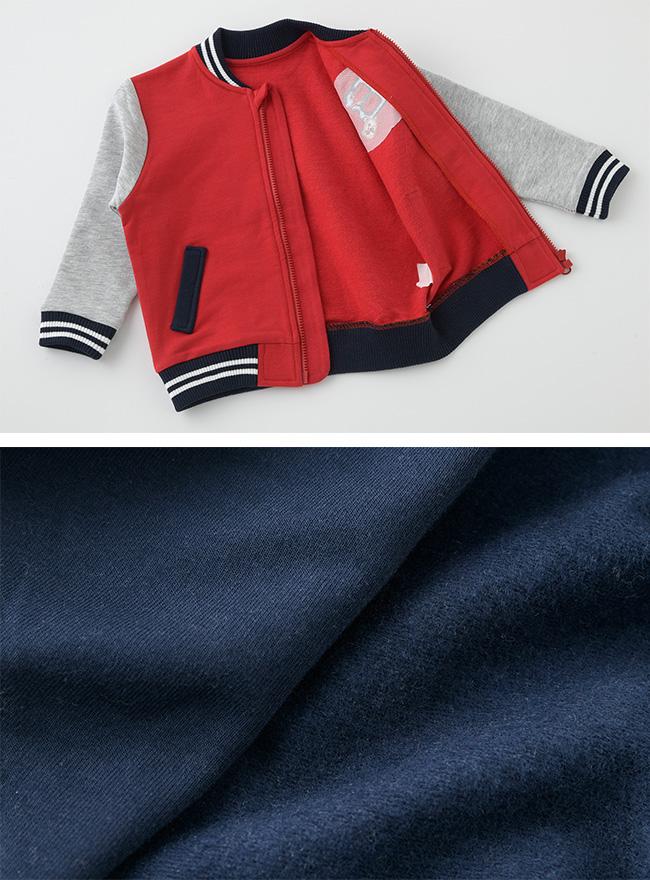 ボンシュシュスタジャン風ジャンパー[ベビー服][赤ちゃん][服][ベビー][ジャケット][ジャンパー][スタジャン][アウター][防寒][男の子][70][80][90]