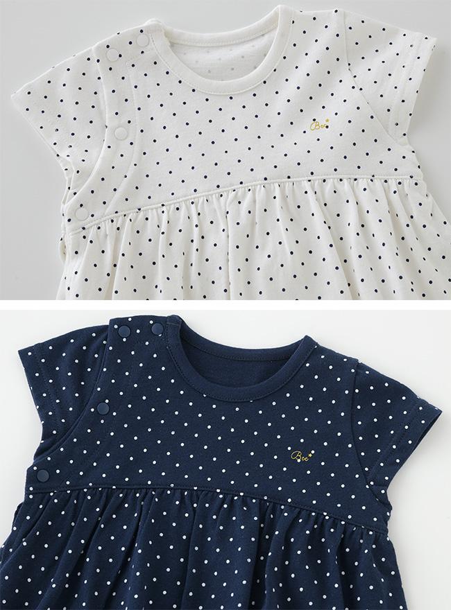 ボンシュシュワンピース風スカート付きロンパース[ベビー服][赤ちゃん][服][ベビー][ロンパース][ワンピース][女の子][70][80][ギフト]
