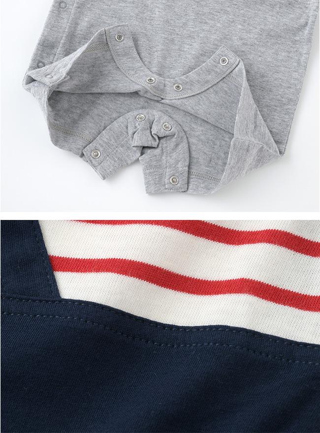 ボンシュシュサロペット風半袖カバーオール[ベビー服][赤ちゃん][服][ベビー][カバーオール][男の子][60][70][80][半袖][ギフト]