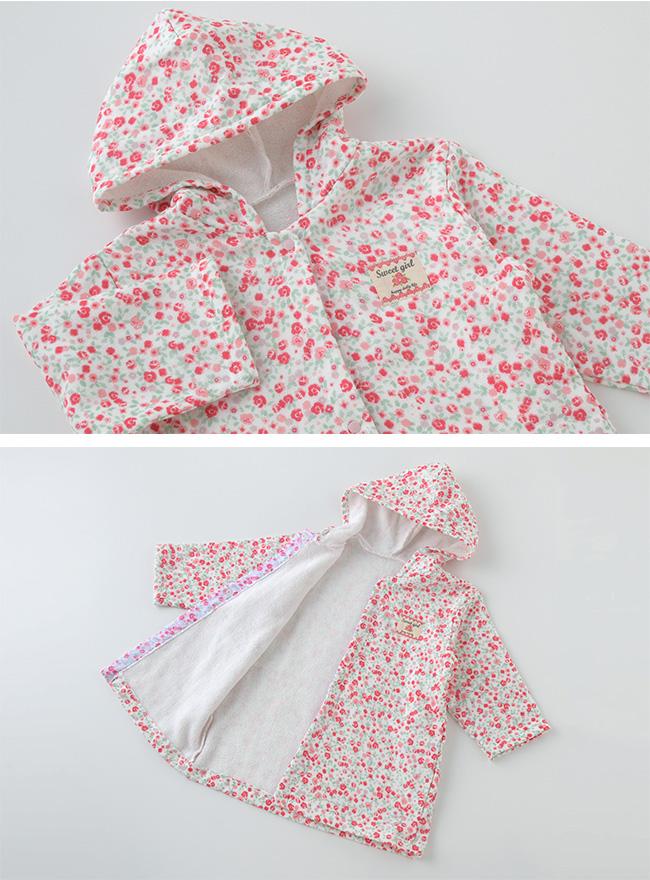 スウィートガール小花柄バスローブ[ベビー服][赤ちゃん][服][ベビー][バスローブ][女の子][70][80][90][お風呂][キッズ]