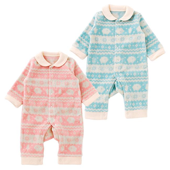 北欧風フリース前開き長袖カバーオール[ベビー服][赤ちゃん][服][ベビー][カバーオール][長袖][男の子][女の子][60][70][80][お出かけ]