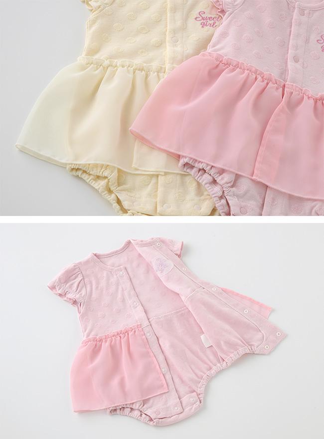 スウィートガールワンピース風半袖ロンパース[ベビー服][赤ちゃん][服][ベビー][ロンパース][ワンピース][女の子][60][70][80][ギフト]