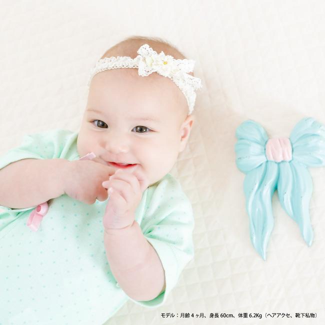 水玉ドットレース花柄新生児肌着5枚セット[ベビー服][赤ちゃん][服][ベビー][新生児肌着][短肌着][コンビ肌着][女の子][新生児][50][60]