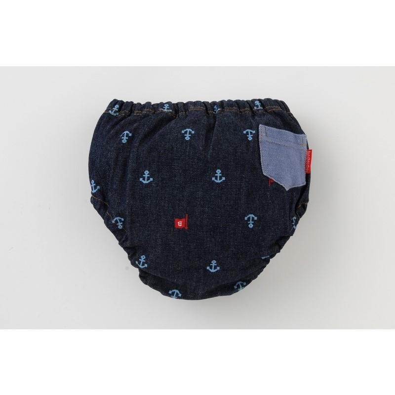 *ボンシュシュ*後飾りポケットデニムニットマリン4層吊り式トレーニングパンツ【1枚売り】