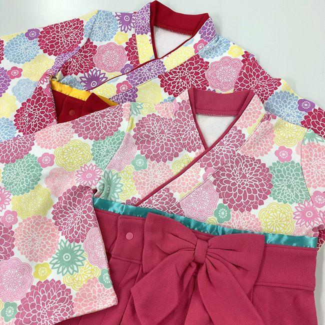 ベビー服 赤ちゃん 服 ベビー 袴オール 袴 ロンパース カバーオール 和装 和服 男の子 60-70 80 90 花柄袴オール