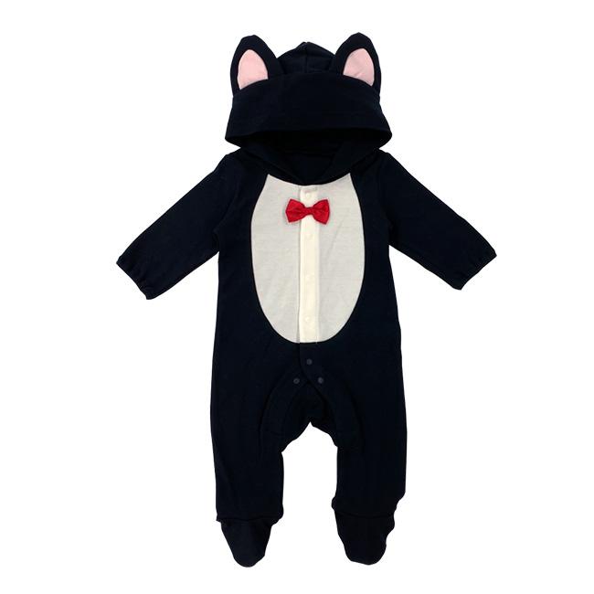 ベビー服 赤ちゃん 服 ベビー 黒猫 足つき カバーオール 長袖 コスプレ ハロウィン 仮装 60 70 ネコ耳フード付き黒猫足付きカバーオール