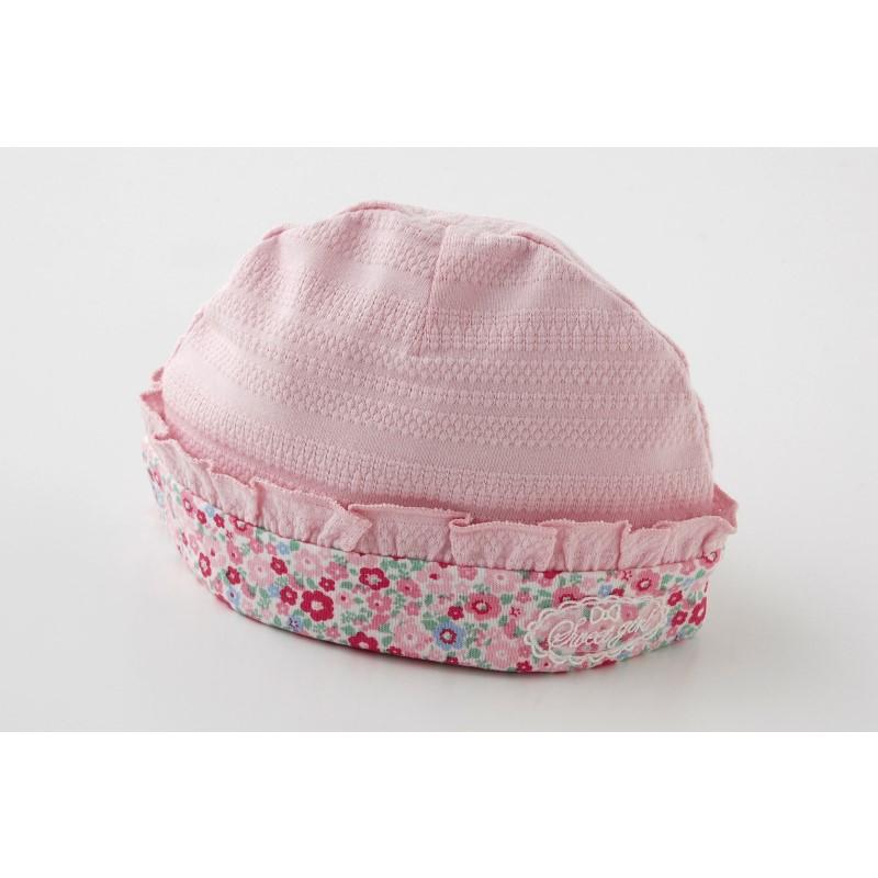 スウィートガール小花柄新生児帽子