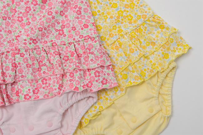 スウィートガール小花柄半袖前開きロンパース[ベビー服][赤ちゃん][服][ベビー][ロンパース][ボディオール][ボディスーツ][肌着][下着][女の子][60][70]