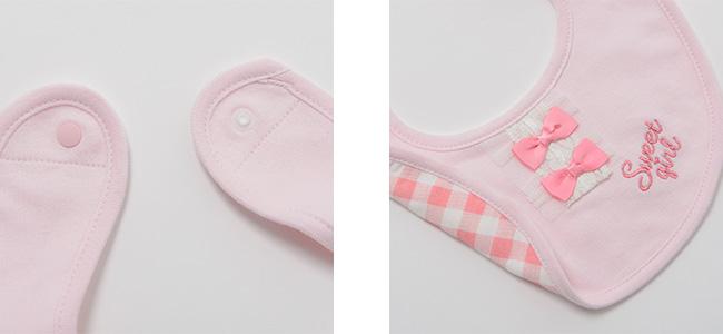 スウィートガールギンガムチェック柄リバーシブルスタイ[ベビー服][赤ちゃん][服][ベビー][スタイ][よだれかけ][ビブ][女の子][出産祝い][ギフト]