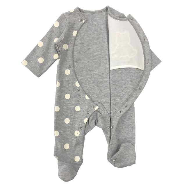 ベビー服 赤ちゃん 服 ベビー カバーオール 足つき 長袖 前開き 男の子 秋冬 60 70 ボンシュシュ長袖前開き足付きカバーオール