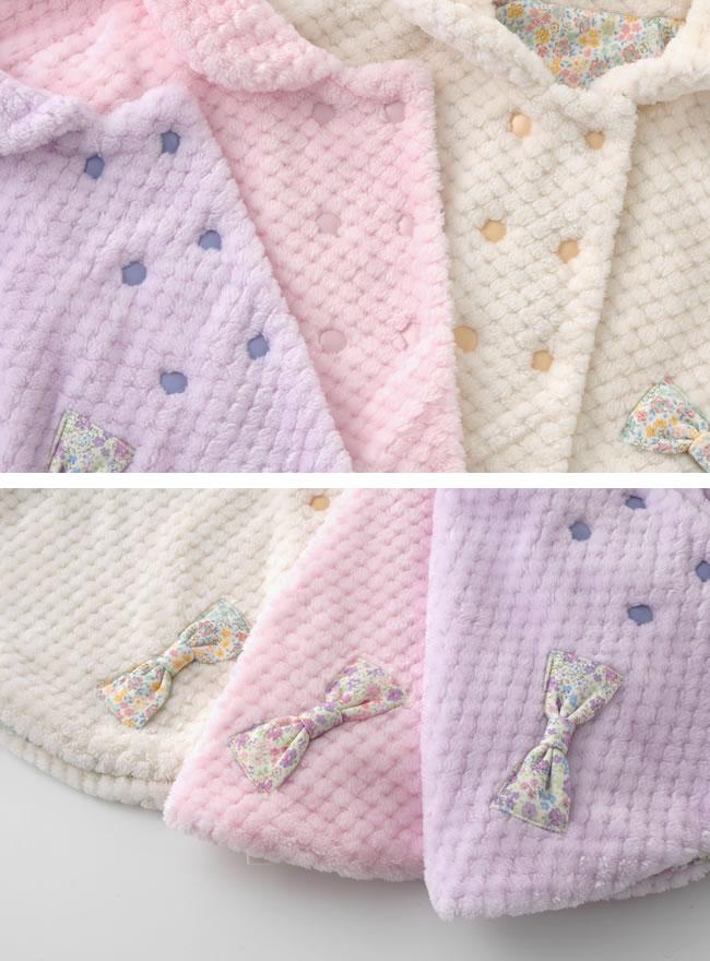 ベビー服 赤ちゃん ベビー 服 ボア マント 女の子 冬 小花柄 60-90cm スウィートガールリバーシブルボアマント