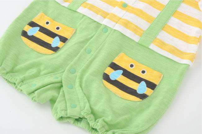 ベビー服 赤ちゃん 服 ベビー カバーオール 半袖 前開き 夏 みつばち ミツバチ てんとう虫 昆虫 男の子 60 70 80 なりきり半袖カバーオール