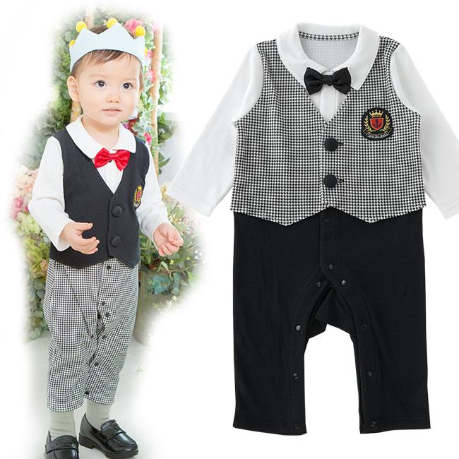 ティノティノベスト風フォーマル長袖カバーオール[ベビー服][赤ちゃん][服][ベビー][カバーオール][フォーマル][長袖][男の子][70][80][結婚式]