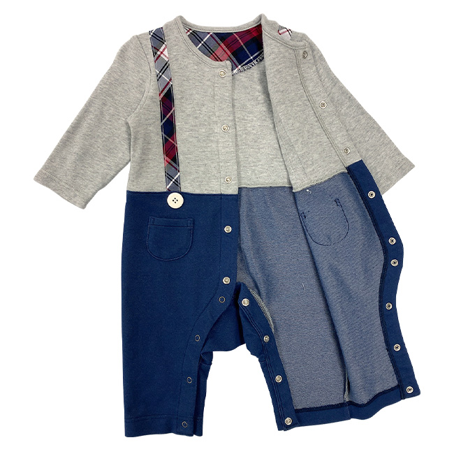 ベビー服 赤ちゃん 服 ベビー カバーオール 長袖 前開き 男の子 秋冬 60 70 80 ボンシュシュ長袖前開きカバーオール