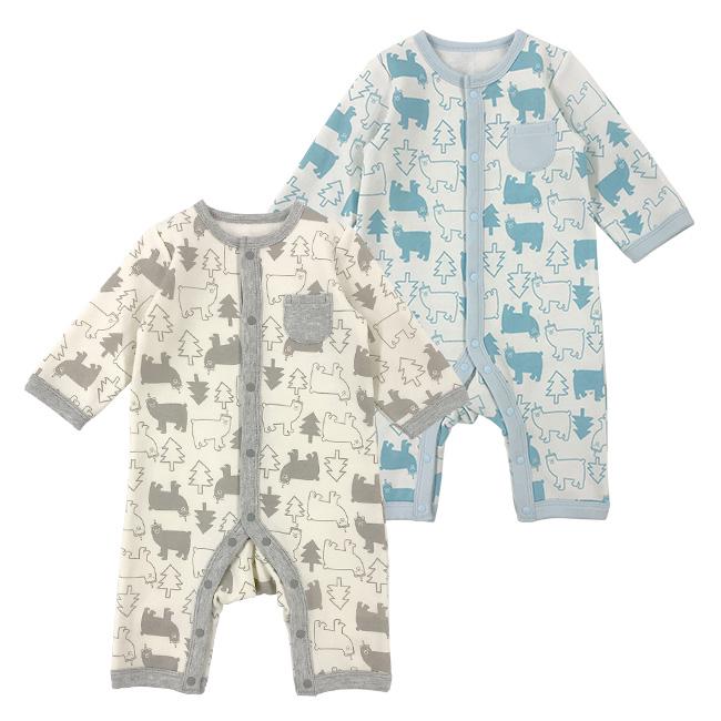 ベビー服 赤ちゃん 服 ベビー カバーオール 長袖 前開き 男の子 秋冬 裏起毛 50-60 60-70 白クマ長袖前開きカバーオール