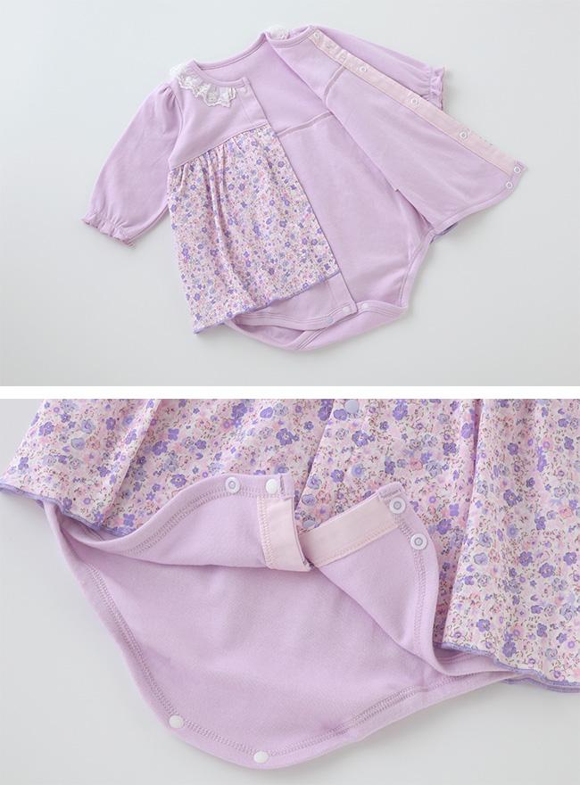 スウィートガール小花柄スカート付き長袖ロンパース[ベビー服][赤ちゃん][服][ベビー][ロンパース][ワンピース][女の子][60][70][80][お出かけ]