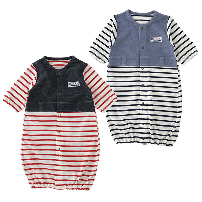ボンシュシュ長袖ツーウェイオール[ベビー服][赤ちゃん][服][ベビー][ツーウェイオール][男の子][新生児][2wayオール][ドレスオール]