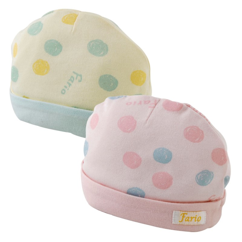 手描きドット新生児帽子