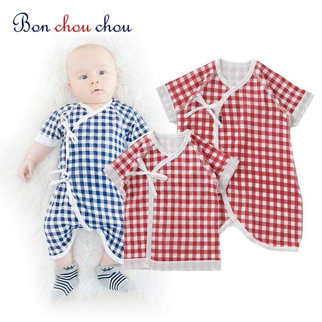 ボンシュシュチェック柄新生児肌着2点セット[ベビー服][赤ちゃん][服][ベビー][新生児肌着][短肌着][コンビ肌着][男の子][女の子][新生児][50][60]