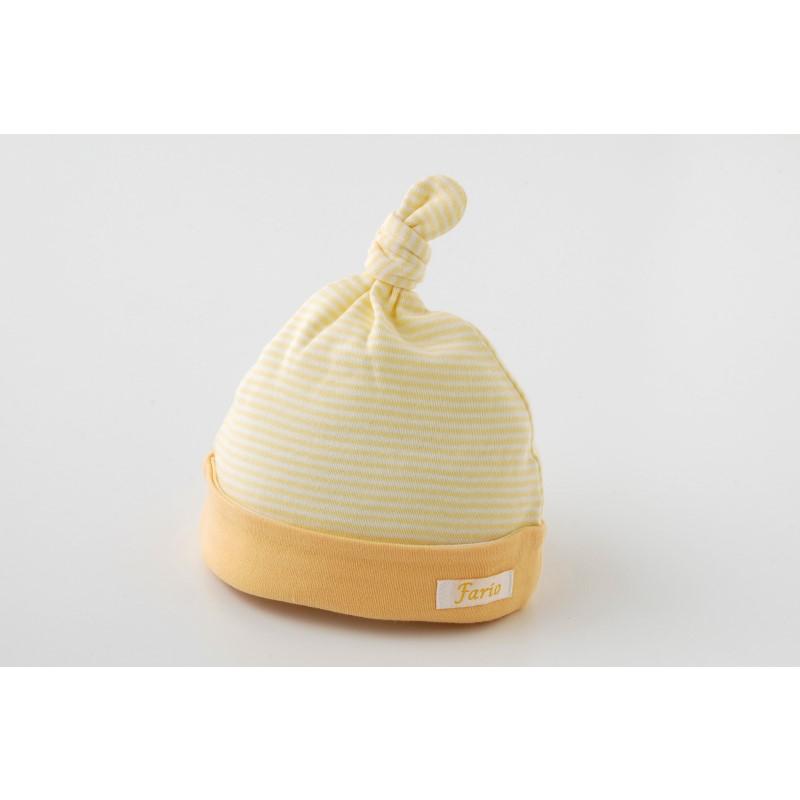 パステルボーダー新生児帽子