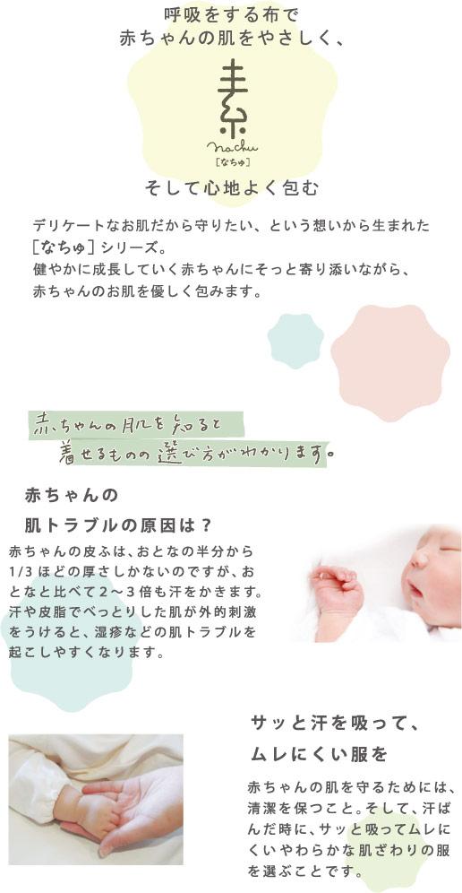 ベビー服 赤ちゃん 服 ベビー 新生児 短肌着 男の子 女の子 日本製 春夏 秋冬 白 無地 50-60 なちゅ新生児短肌着