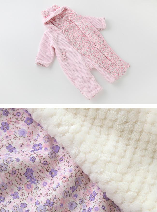 スウィートガールうさぎ防寒カバーオール[ベビー服][赤ちゃん][服][ベビー][着ぐるみ][コスプレ][カバーオール][長袖][女の子][70][80][お出かけ]