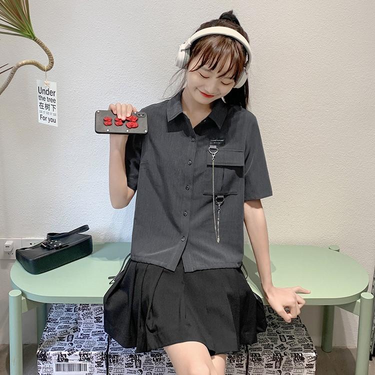 【BYJ】チェーンデコレーションルーズシャツ◆トップス S、M、L