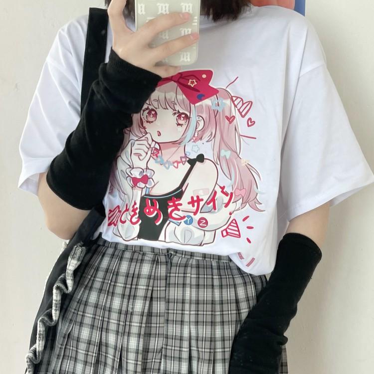 イラストプリントTシャツときめきver◆トップス Tシャツ ワンサイズ