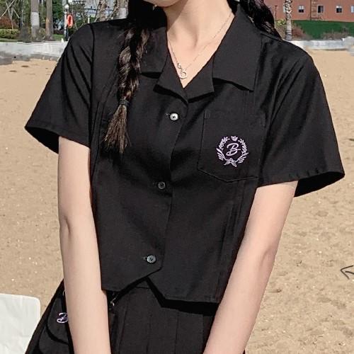 【BYJ】ショート丈カレッジスタイルシャツ◆トップス S、M、L