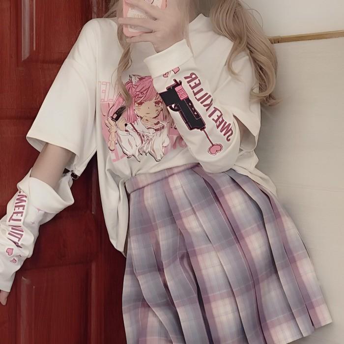 イラストプリントTシャツスナイパーガールver◆トップス Tシャツ S、M、L、XL