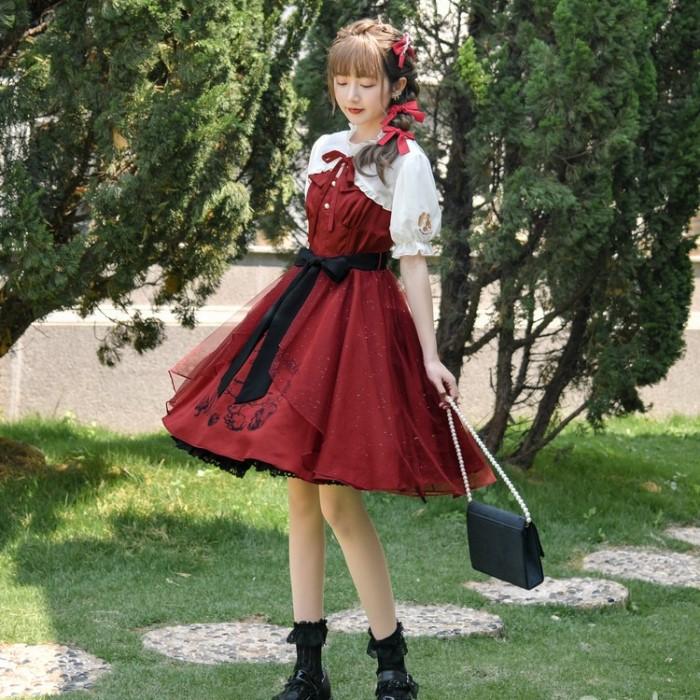 【snbl】リボン付フレアトップ+サスペンダースカート◆セットアップ S、M、L、XL