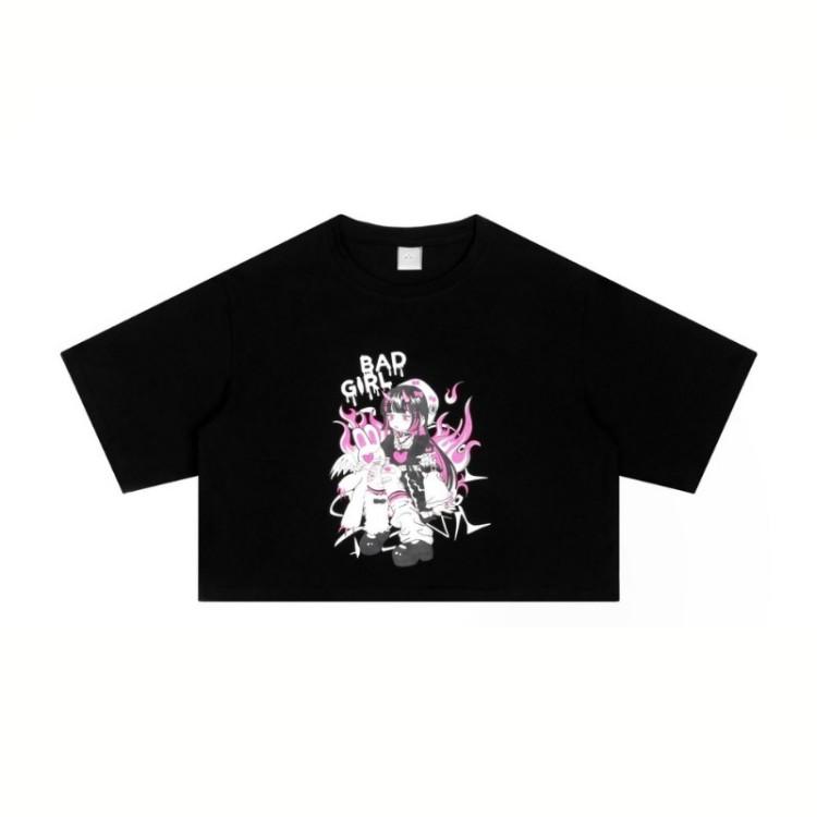 ショート丈イラストプリントTシャツバッドガールver◆トップス Tシャツ ワンサイズ