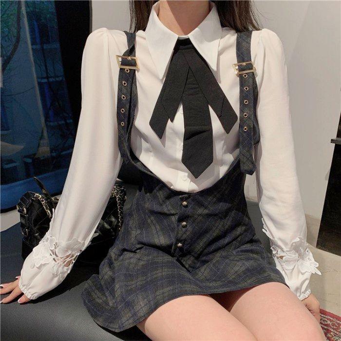 チェック柄サスペンダースカート+ドールカラーシャツ◆セットアップ S、M