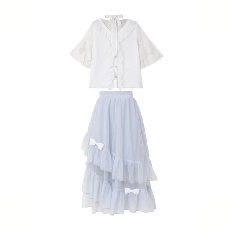 【snbl】シフォンシャツ+リボンフレアスカート◆セットアップ S、M、L