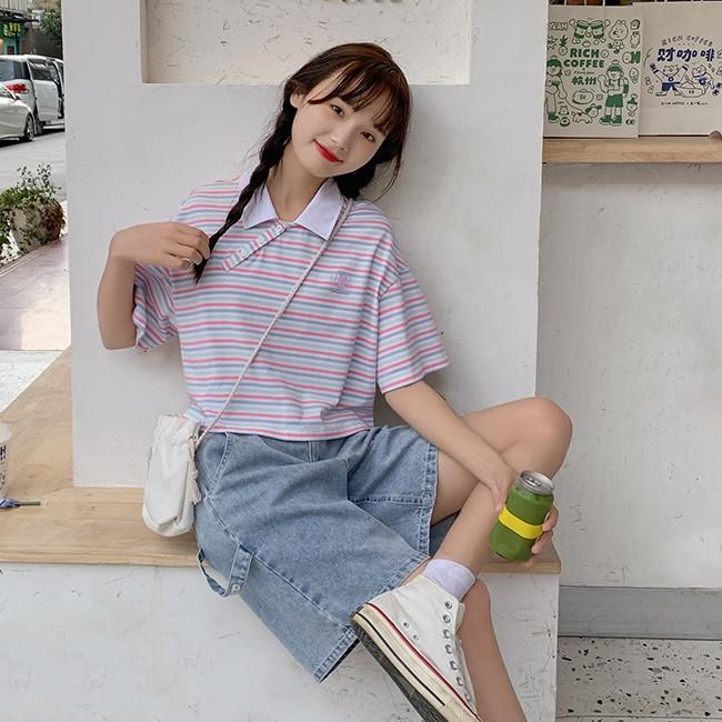 【BYJ】ポロカラーストライプショートシャツ◆トップス S、M、L