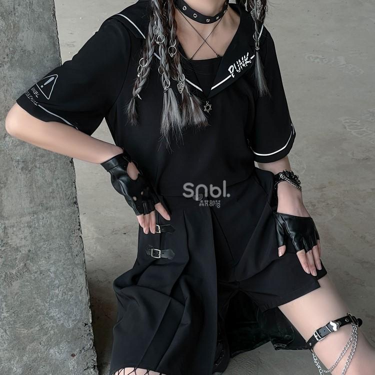 【snbl】アシンメトリースカート+ショーツ+トップススリーピース◆セットアップ S、M、L