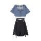 【snbl】ショート丈フェイクツーピースTシャツ+スカート◆セットアップ S、M、L